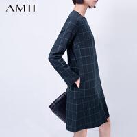 【1件8折/2件6折】AMII[极简主义]冬新品圆领英伦风格子直筒长袖连衣裙11581381