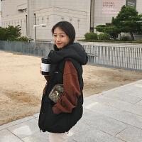 朴正义2018冬季新款韩版学院风黑色宽松短款无袖棉马甲背心外套女 黑色 X