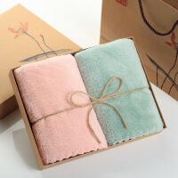 毛巾礼盒套装珊瑚绒毛巾礼盒 两2条装套装比纯棉吸水家用婚礼回礼礼品定制logo 0x0cm