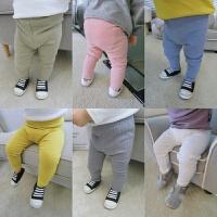 婴儿女宝宝基本款弹力罗纹坑条打底裤外穿秋 婴幼儿长裤男