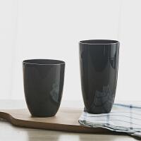 简约黑色水杯好看的玻璃杯创意个性玻璃水杯装饰盲品杯子