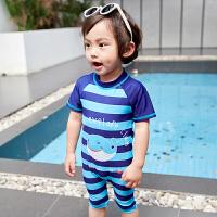 1-8岁宝宝儿童泳衣男童小童连体条纹可爱泳衣男孩婴幼儿游泳衣