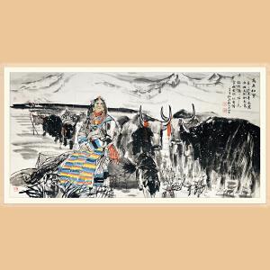 中国美协会员,美协天津分会副主席 杜滋龄(高原初雪)ZH421附鉴定证书