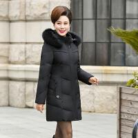 中老年女装羽绒服中长款 冬装妈妈装加肥加大码加厚外套热卖 XL 95-105斤左右
