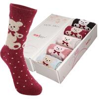 【包邮5双礼盒装】内慧 男女袜秋冬款加厚兔羊毛袜子保暖中筒袜