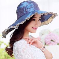 帽子女夏遮阳帽渡假海边蕾丝防晒帽折叠大檐沙滩帽子凉帽