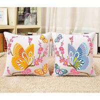新款印花绣十字绣抱枕卡通情侣动物一对蝴蝶客厅沙发抱枕汽车靠垫