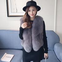 狐狸毛皮草马甲女装短款韩版显瘦背心外套冬季新款皮毛修身坎肩