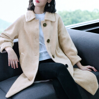 海宁羊剪绒大衣女皮草秋冬颗粒皮毛一体中长简约宽松显瘦外套