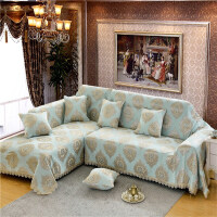 加厚滑沙发巾盖布坐垫沙发套罩现代简约布艺座垫G定制 绿色 宝相花