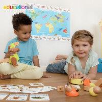 Hape贝乐多恐龙套装3岁以上儿童积木玩具