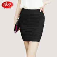 浪莎短裙 女士玫瑰香型糖果色弹力包臀裙 时尚性感修身一步裙 气质百搭暗纹半身裙 新品