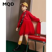 MQD童装女童连衣裙2019冬装新款儿童加绒保暖连帽中长款拼接裙子