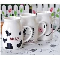 日照鑫 带盖陶瓷杯子牛奶杯情侣杯咖啡杯马克杯星巴克杯可爱创意水杯 一个装