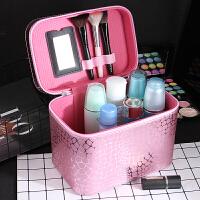 化妆包小号便携韩国简约可爱少女心方袋大容量收纳盒品化妆箱手提 大号 粉色