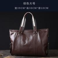 男包商务男士手提包横款牛皮包大容量软皮公文包斜挎电脑包潮