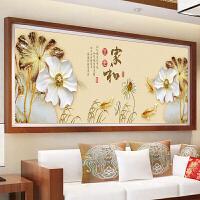 十字绣新款客厅刺绣花开富贵十字绣家和万事兴金色荷花家和富贵 3股绣 棉线小版全绣 绣布尺寸 150x60厘米