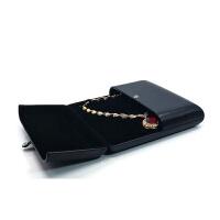 黑色PU对戒首饰盒带锁戒指吊坠耳钉创意婚礼珍珠项链简约复古