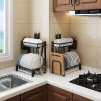 厨房置物架碗碟架沥水家用盘碗柜不锈钢晾放碗筷刀架双层收纳盒子