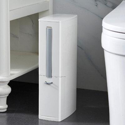 桌面垃圾桶带盖桌上小号简约塑料床上家用厨房翻盖按压式创意弹盖 多功能 白色