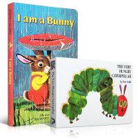 The Very Hungry Caterpillar 好饿的毛毛虫 I am a bunny 我是一只小兔子 2本纸板书套装 幼儿入门进口原版0-2岁亲子读物亲子读物 送音频