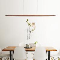 【品牌特惠】黑胡桃吊灯长条餐厅灯吧台灯led办公室吊灯极简吊灯前台灯具