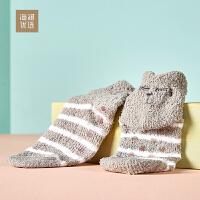 舒适柔软毛巾袜子女士可爱卡通防滑地板袜海澜优选