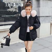 女2018新款韩版冬季短款加厚宽松羽绒棉衣真毛领保暖时尚外套 黑色 配狐狸毛领