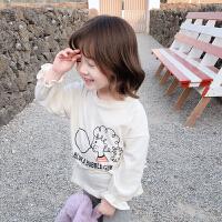 【2件2折价:29.9】纽豆女童时尚卡通收腰T恤2020新款小童春秋长袖体恤洋气宝宝套头上衣