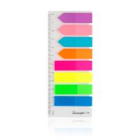 广博(GuangBo)8色80枚42*12mm荧光膜指示标签贴/彩色便利贴/百事贴/便签条ZGT9200当当自营