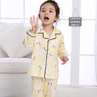 春秋季女童儿童睡衣长袖夏公主小孩母女亲子装宝宝家居服套装MYZQ41 儿童 黄色兔子开衫镶边