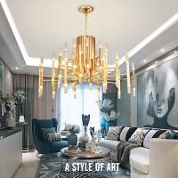 客厅餐厅后现代吊灯北欧设计师的个性简约创意风格楼梯服装店灯具 金色 36头