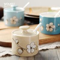 中式陶瓷调味罐单个装 欧式家用厨房储物罐盐罐调料罐子套装