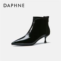 Daphne/达芙妮尖头短靴粗跟时尚女靴2019秋季新款高跟鞋性马丁靴---