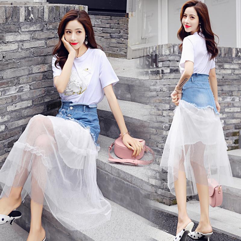 2019夏季新款女装法式复古裙两件套裙甜美可爱牛仔拼接网纱裙套装