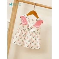 婴儿衣服公主连衣裙套装外出服女宝宝夏装薄款洋气背带裙三件套