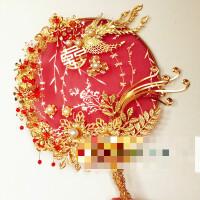 成品现货新娘捧花中式团扇婚礼龙凤褂秀禾旗袍结婚红 凤求凰