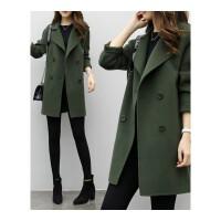 秋冬新款韩版学生中长款毛呢外套女茧型宽松呢子大衣大码女装