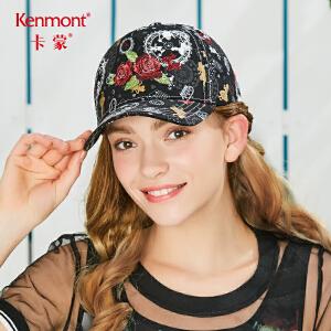 卡蒙女士棉质鸭舌帽花朵刺绣棒球帽夏季户外太阳帽遮阳出游防晒帽 3607