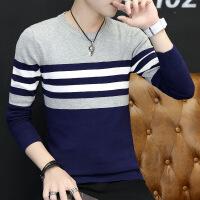 秋季男士长袖T恤韩版修身条纹体恤衫打底衫毛衣男装衣服潮男
