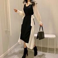 名媛风套装女春装新款荷叶领长袖打底衬衫针织背心连衣裙两件套潮
