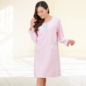 金丰田新款女士长袖睡裙 植绒女式秋季睡裙1401
