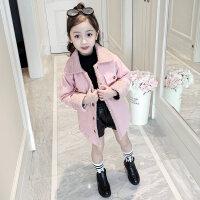 女童大衣女童外套秋冬装2018新款毛呢中长款呢子大衣大童洋气儿童韩版公主MYZQ68 粉红色