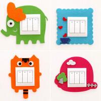 韩国可爱卡通毛毡镂空开关套 创意墙贴不伤墙免粘开关套 单个售