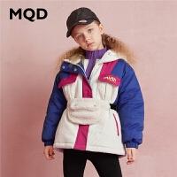 【折后券后�A估�r:280】MQD童�b女童中�L款加厚棉衣2020冬�b新款�和�撞色拼接外套