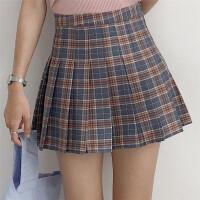 韩版学院风时尚高腰短裙学生潮流格子百褶a字半身裙子女春新款潮