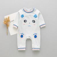 婴儿爬服新款春秋装新生儿长袖爬服0-12个月哈衣男女宝宝连体衣婴儿外出服XM-3 蓝色(LD3745)
