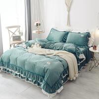 公主风四件套蕾丝花边床裙荷叶边珊瑚绒法兰绒水晶绒加厚保暖双面定制 玛丽 绿 2.0m床 床裙200x220被套220x