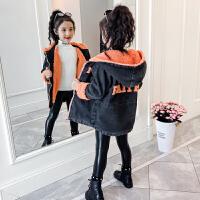 儿童女孩加厚韩版洋气上衣2019冬季新款牛仔加绒女童秋冬装外套