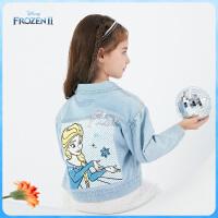 【春新品4折�A估�r:136.9元】迪士尼女童牛仔外套2021春�b新款冰雪奇��凵��和�����上衣�棉